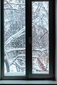 Snowfall outside the window — Stock Photo