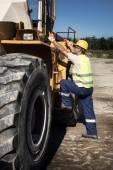 Bulldozer operator — Stock Photo