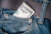 Money in pocket — Zdjęcie stockowe