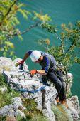 Team of rock climbers — Stock Photo
