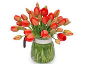 Bouquet of red tulips in a jug on a white background, macro. — Stock Photo