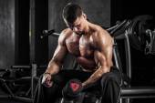 Fitness with dumbbells — Stock Photo