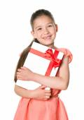 Happy cute girl with birthday present — Stok fotoğraf