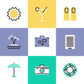 Summer vacation  icons — Stock Vector