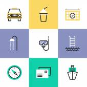 Relaxation and vacation  icons — Stock Vector