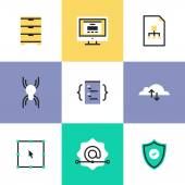Security and web development  icons — Vector de stock