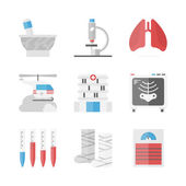 Hospital and medicine  icons set — Stock Vector