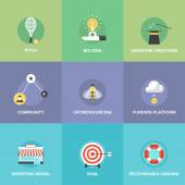 Crowdsourcing and funding money  icons — Stock Vector