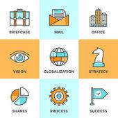 Глобальный бизнес линии иконы set — Cтоковый вектор