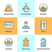 Hotel accommodation services  icons — Stock Vector