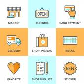 Shopping services line icons set — 图库矢量图片