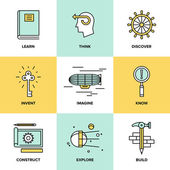 Creative thinking and invention  icons — Stock Vector