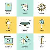Creative thinking and invention  icons — Stok Vektör