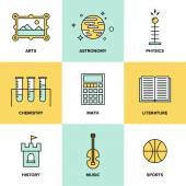 Education subjects  icons — Stock Vector