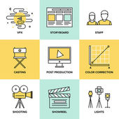 Films and post production  icons — Stock Vector