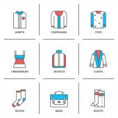 Clothing collection  icons set — Stock Vector