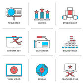 Movies production  icons set — Stockvector