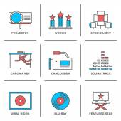 Movies production  icons set — Stock Vector