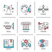 Education subjects  icons set — Stock Vector