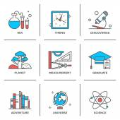 Discovery and science  icons — Stock Vector