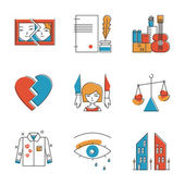 Family problem  icons set — Stock Vector