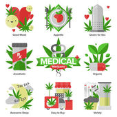 Medical marijuana flat icons — Stock Vector