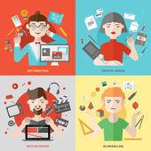 Kunsten en ontwerp beroepen illustraties — Stockvector