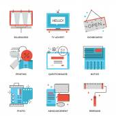 Advertising and marketing  icons — Stock Vector