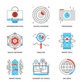Data and smart technology  icons — Stock Vector