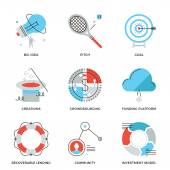 Crowdsourcing and funding  icons — Stock Vector