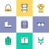 Clothes and bags  icons set — Stock Vector