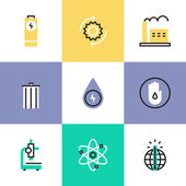 Energy conservation research  icons — Stock Vector