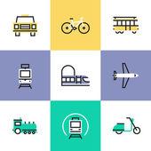 Public transportation   icons set — Stock Vector