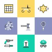 Police and crime  icons set — Stock Vector
