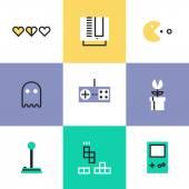 Retro gaming  icons — Stock Vector