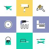 Construction instruments  icons set — Stock Vector