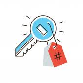 Key with hashtag flat line icon — Stock Vector