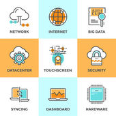 Cloud computing line icons set — Stock Vector