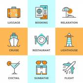 Travel and vacation line icons set — Stock Vector