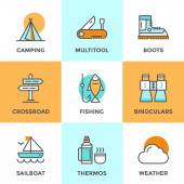 Recreation camping line icons set — Stock Vector