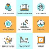 Power industry line icons set — Stock Vector