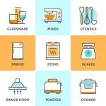 Kitchen appliances line icons set — Stock Vector #70290037