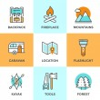 Outdoor adventure line icons set — Stock Vector #70290041