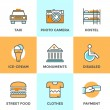 City travel elements line icons — Stock Vector #70290043