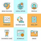 Business workflow line icons set — Stock Vector