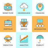 Investing and financing line icons set — Stock Vector