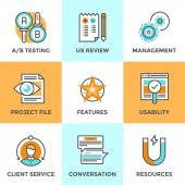 UX and usability testing line icons — Stock Vector