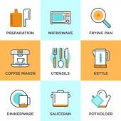 Cooking utensils line icons set — Stock Vector