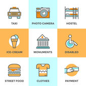 City travel elements line icons — Stock Vector