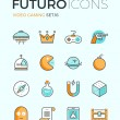 Indie gaming futuro line icons — Stock Vector #72038443